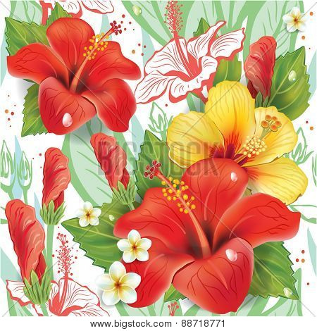 Seamless floral pattern with hibiscus pattern