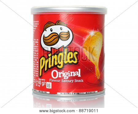 KIEV UKRAINE - FEBRUARY 21 2015:Pringles original potato chips