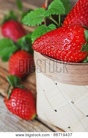 Ripe Strawberries In A Basket Close Up
