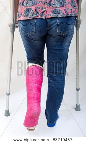 Broken Leg and Crutches