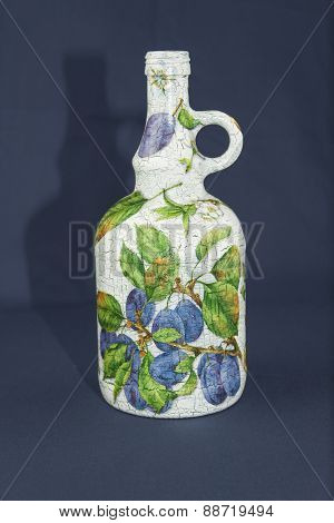 glass wine bottle, decorated with decoupage technique, handmade