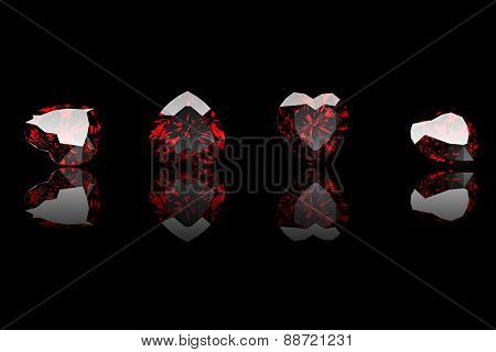 Gemstone heart shape. Collections of jewelry gems on black