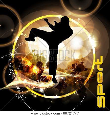 Karate. Vector illustration of warrior