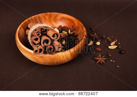 wooden bowl with spices
