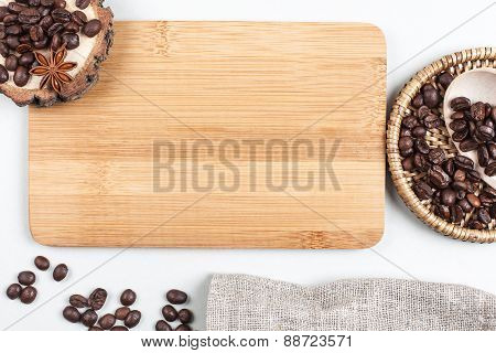 Coffee beans and place for text