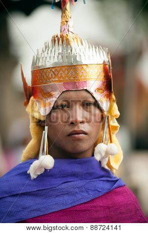 Face Of Novice In Ordination Parade On Elephant's Back Festival.