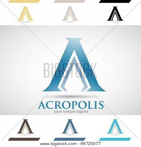 Design Concept of Blue Stock Icons and Shapes of Letter A, Vector Illustration