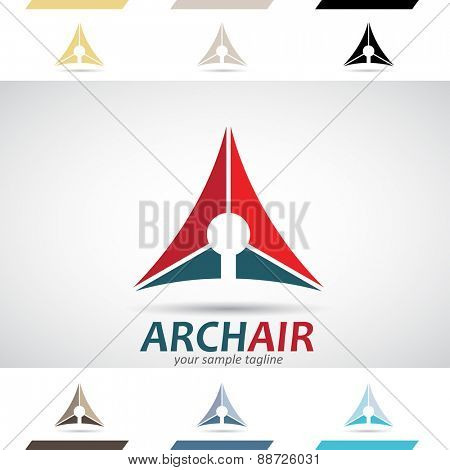 Design Concept of Blue and Red Stock Icons and Shapes of Letter A, Vector Illustration