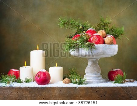 Christmas vintage still life with apples and nuts