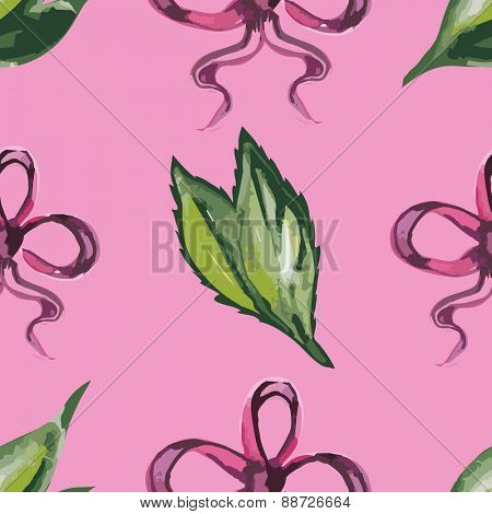 Watercolor seamless pattern with leaves and red ribbons