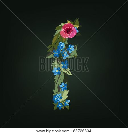 F letter. Flower  alphabet. Colorful font. Lowercase.  Vector illustration.