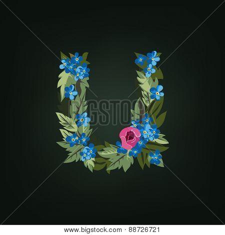 U letter. Flower  alphabet. Colorful font. Lowercase.  Vector illustration.