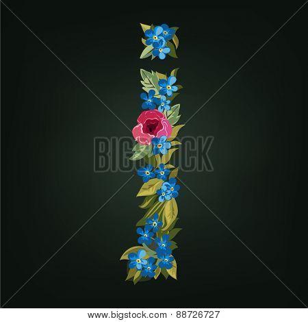 J letter. Flower  alphabet. Colorful font. Lowercase.  Vector illustration.