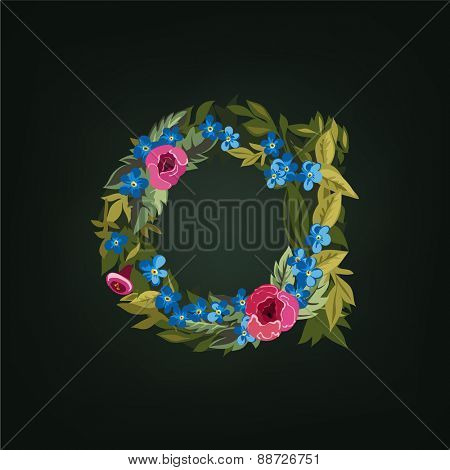 A  letter. Flower  alphabet. Colorful font. Lowercase.  Vector illustration.