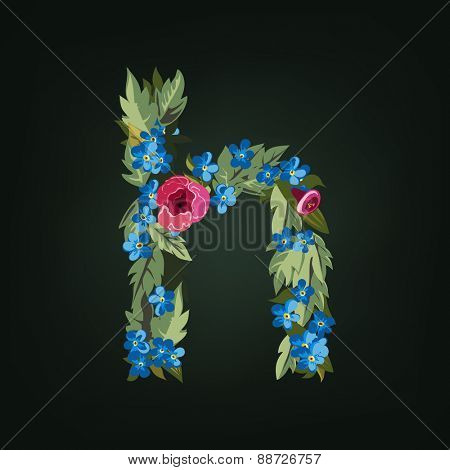 H letter. Flower  alphabet. Colorful font. Lowercase.  Vector illustration.