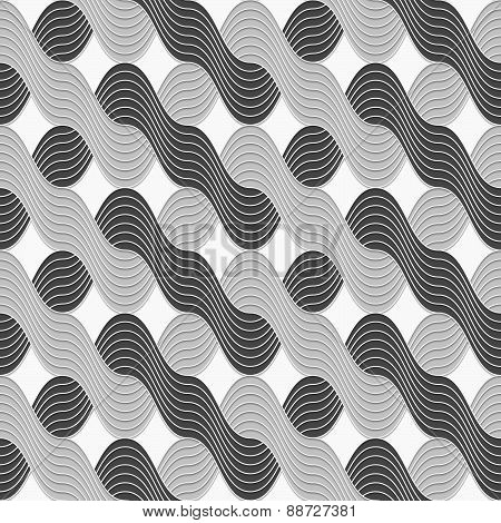3D Shades Of Gray Interlocking Striped Waves
