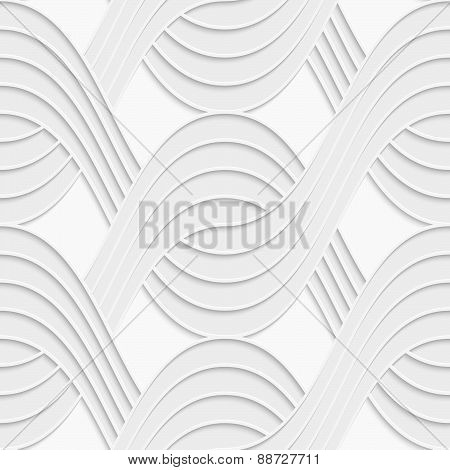 3D White Interlocking Waves On White