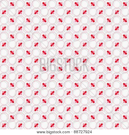 Colored Red And Pink With Hairy Circles On White