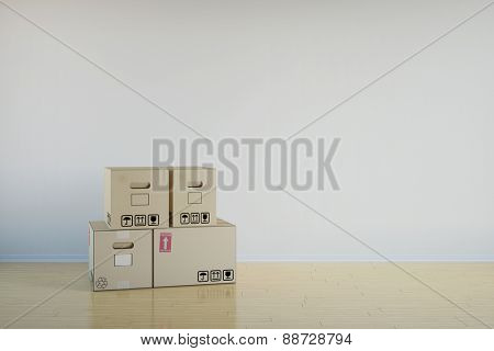 Background of room with stack of moving boxes (3D Rendering)