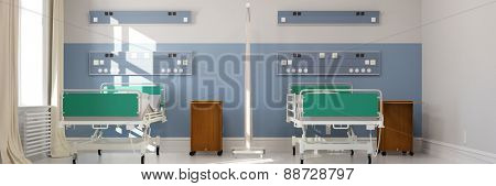 Empty double room in hospital with two clinic beds (3D Rendering)