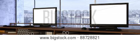 Office panorama with two empty white computer monitor screens (3D Rendering)