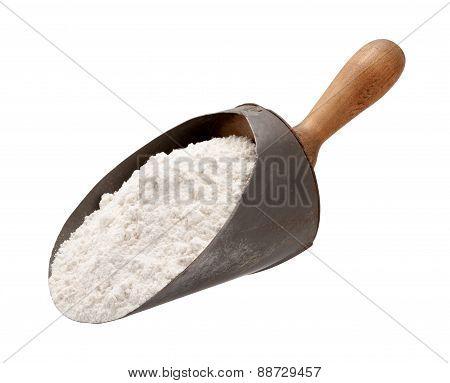 Flour In A Antique Metal Scoop