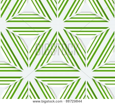 3D Colored Striped Green Stars