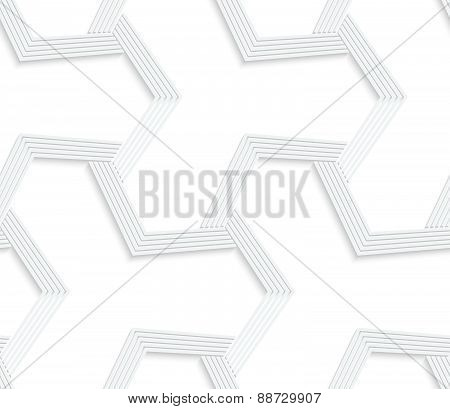 3D White Abstract Tetrapod Striped Grid