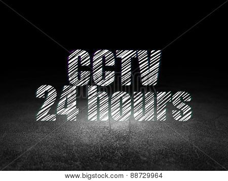 Protection concept: CCTV 24 hours in grunge dark room