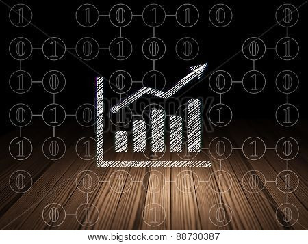 Finance concept: Growth Graph in grunge dark room
