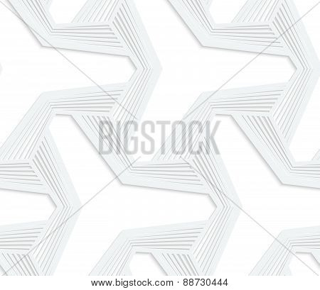 3D White Three Ray Hexagonal Stars With Striped Offset