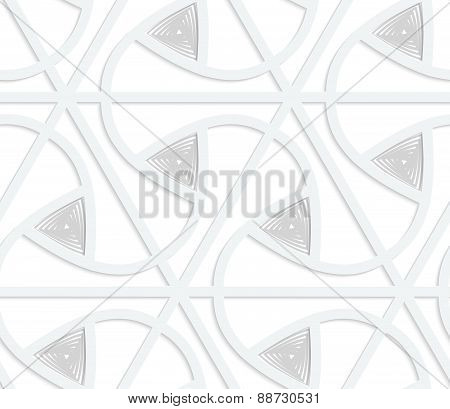 3D White Triangular Grid With Gray Triangles