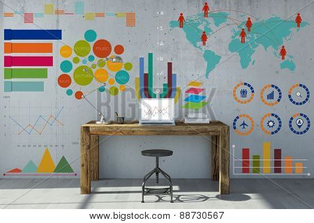 Info graphic and statistics on home office wall with desk and laptop computer (3D Rendering)
