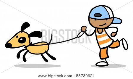 Happy boy taking dog for a walk on a leash