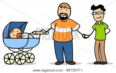 Gay couple adopting baby in a stroller