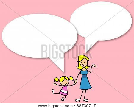 Mother and daughter talking to each other with big white speech bubbles
