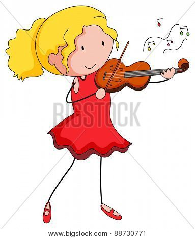 Close up girl playing violin alone
