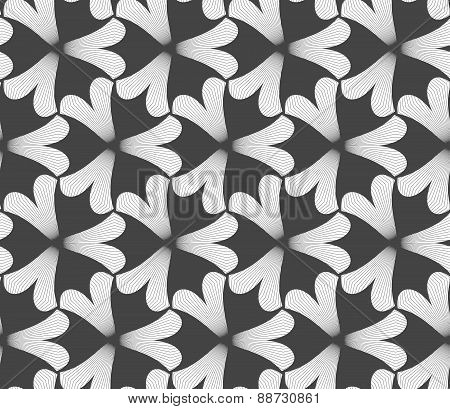 Monochrome Black Pointy Three Pedal Flowers