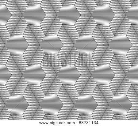 Monochrome Gray Halftone Striped Tetrapods