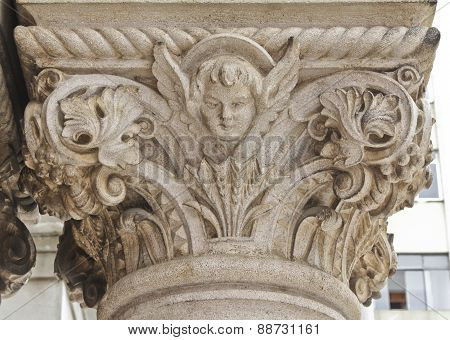 Church Detail Of Stone Art On Bas Relief
