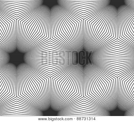 Monochrome Striped Hexagons Forming Black Stars