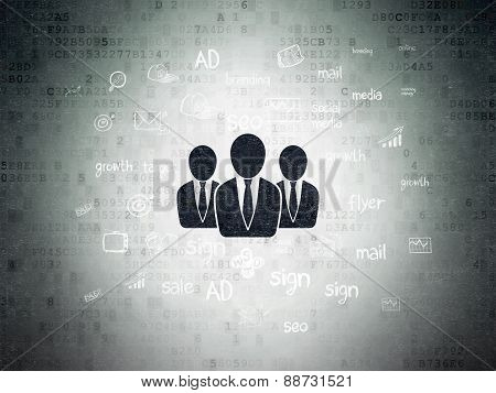 Marketing concept: Business People on Digital Paper background