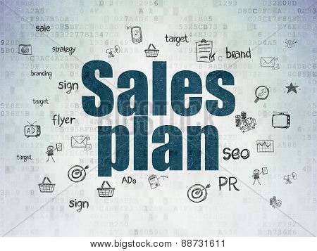 Marketing concept: Sales Plan on Digital Paper background