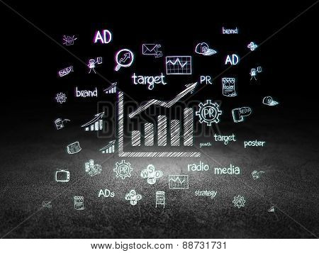 Marketing concept: Growth Graph in grunge dark room
