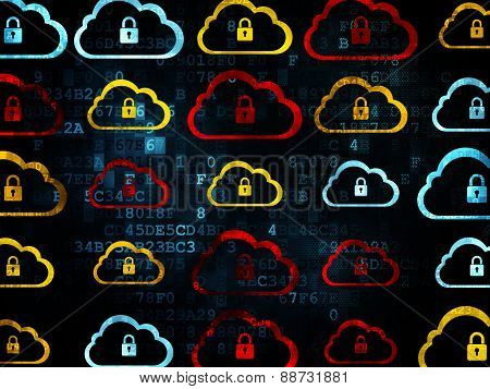 Cloud networking concept: Cloud icons on Digital background