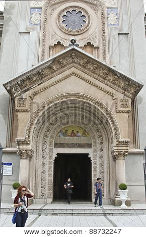 Church Front Door With Details Of Stone Art On Bas Relief