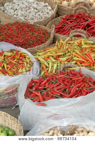 Chile Peppers At Street Market In Ho Chi Minh City