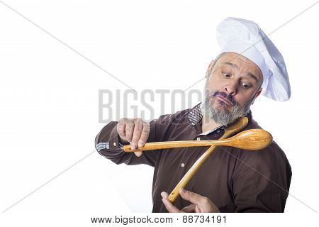 Funny Cook Man Isolated On White Background