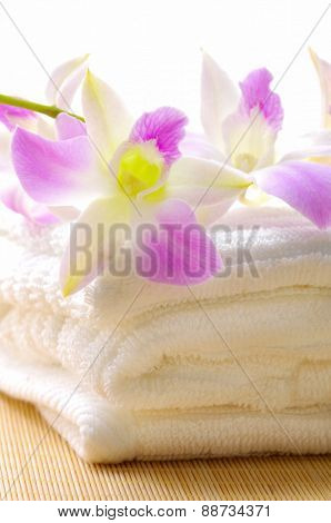 Bouquet  orchid with towel on mat