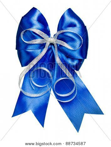 blue bow with silver ribbon made from silk isolated